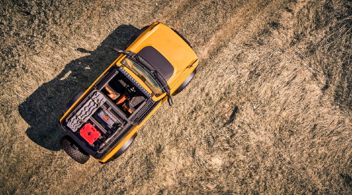 aerial view of a yellow 2021 Ford Bronco 2-Door